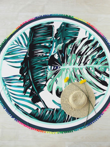 Tropical Print Pom Pom Trim Round Beach Blanket