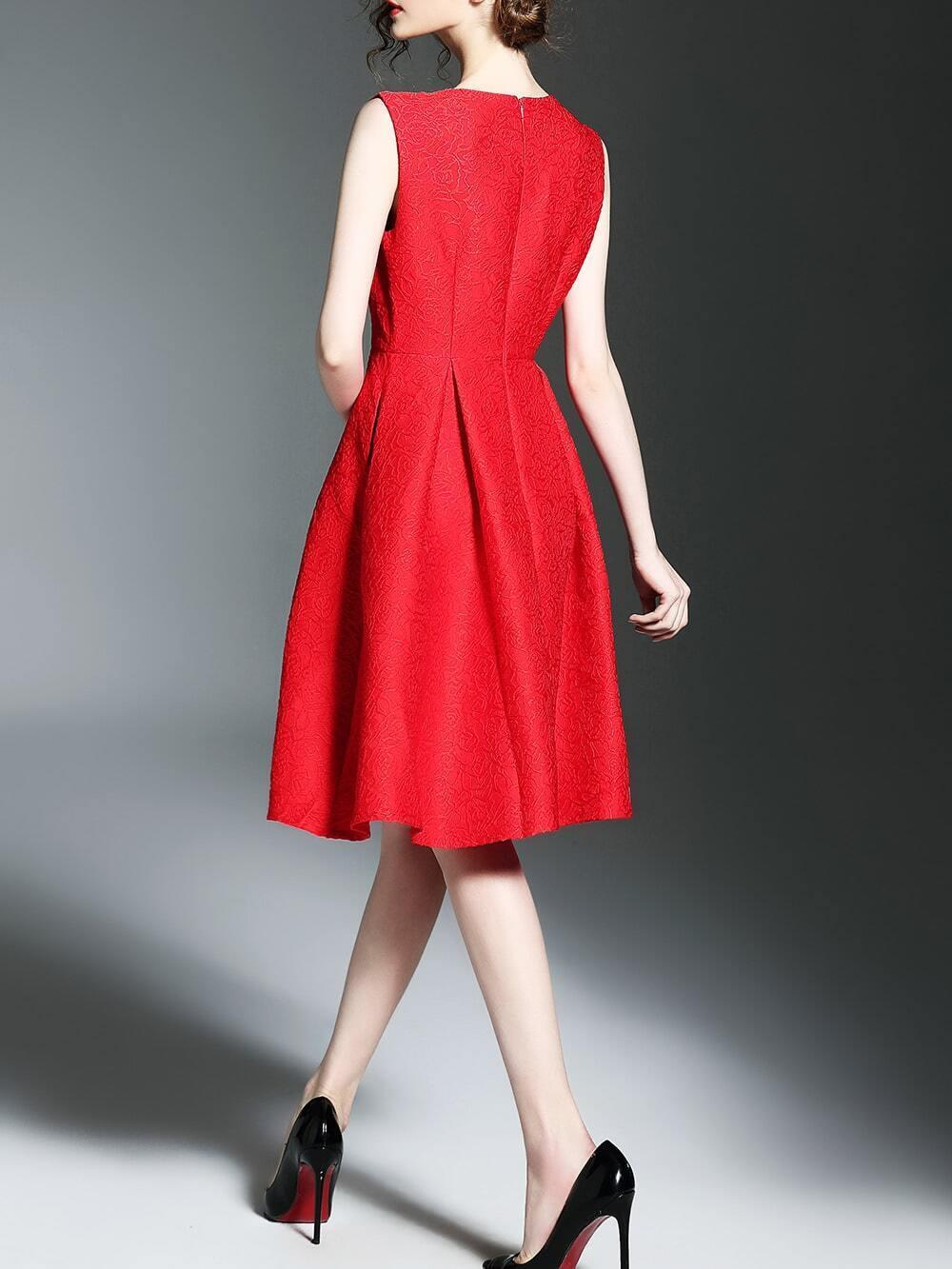 Red Crew Neck Jacquard A-Line Dress -SheIn(Sheinside)