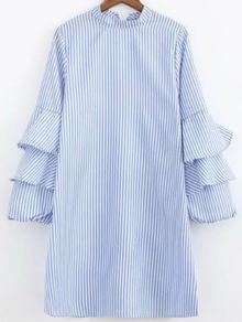 Layered Sleeve Vertical Striped Shirt Dress
