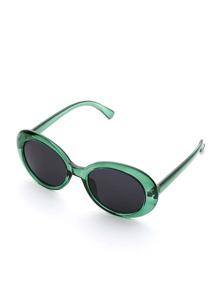 Contrast Frame Oval Lens Sunglasses