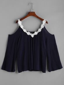 Open Shoulder Lace Trim Top