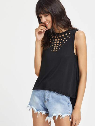 Top canotta con cut-out sul davanti
