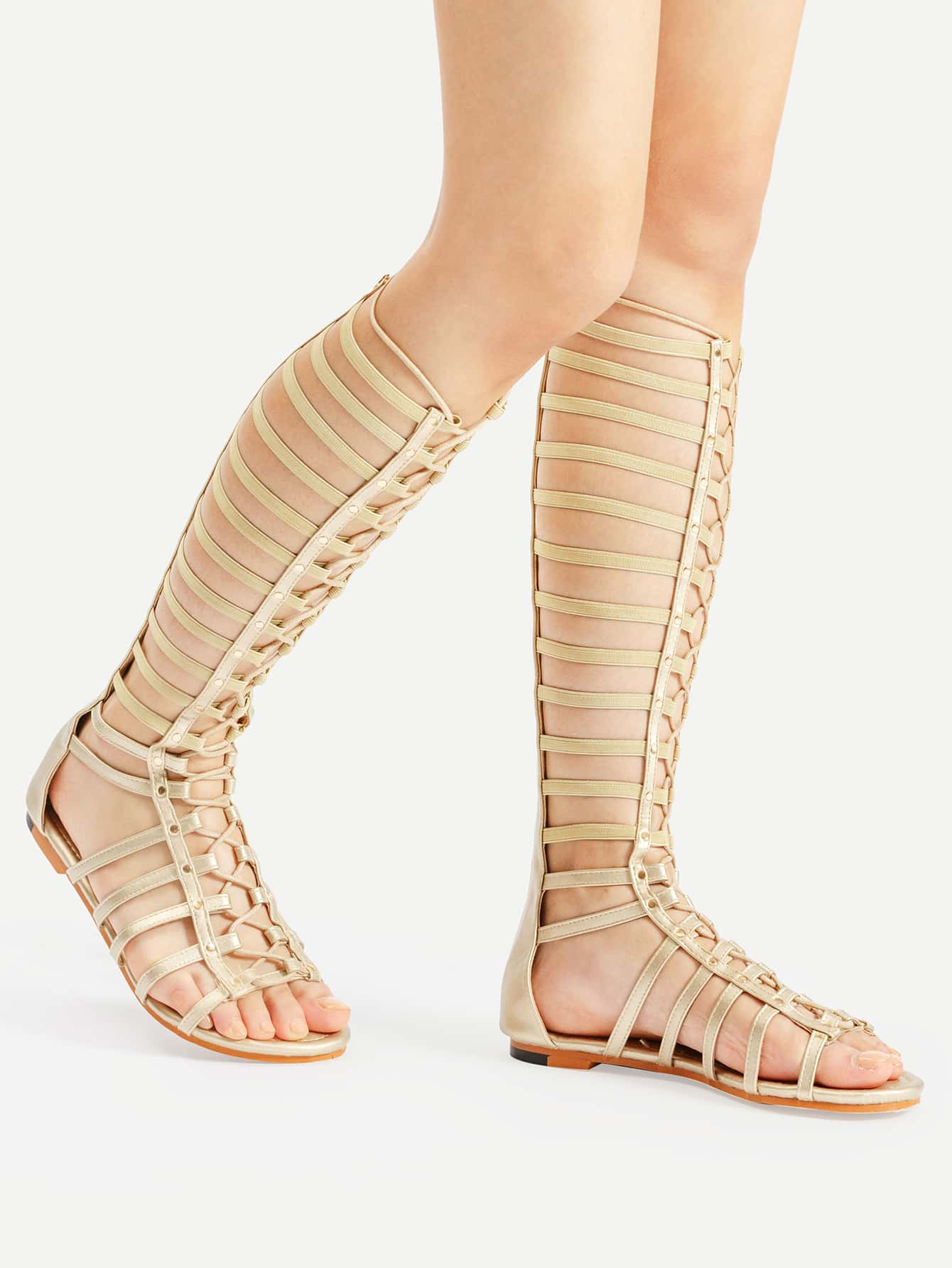 Studded Elastic Gladiator Sandals GOLD