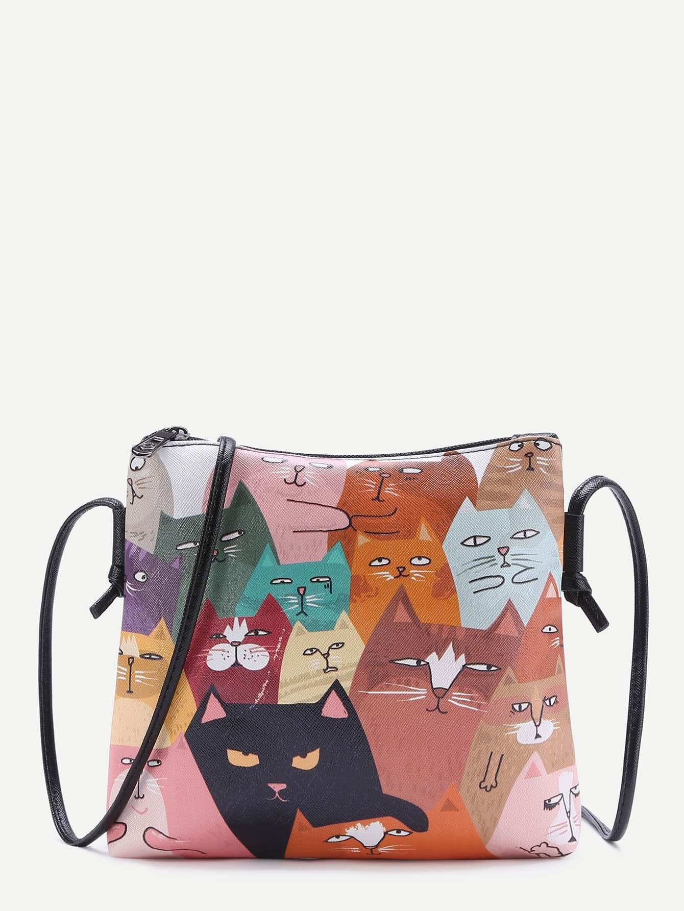 Cat Print Pocket Back PU Shoulder Bag