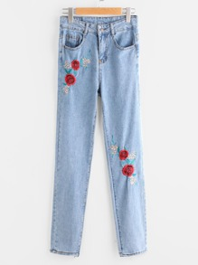Rose Embroidered Straight Jeans