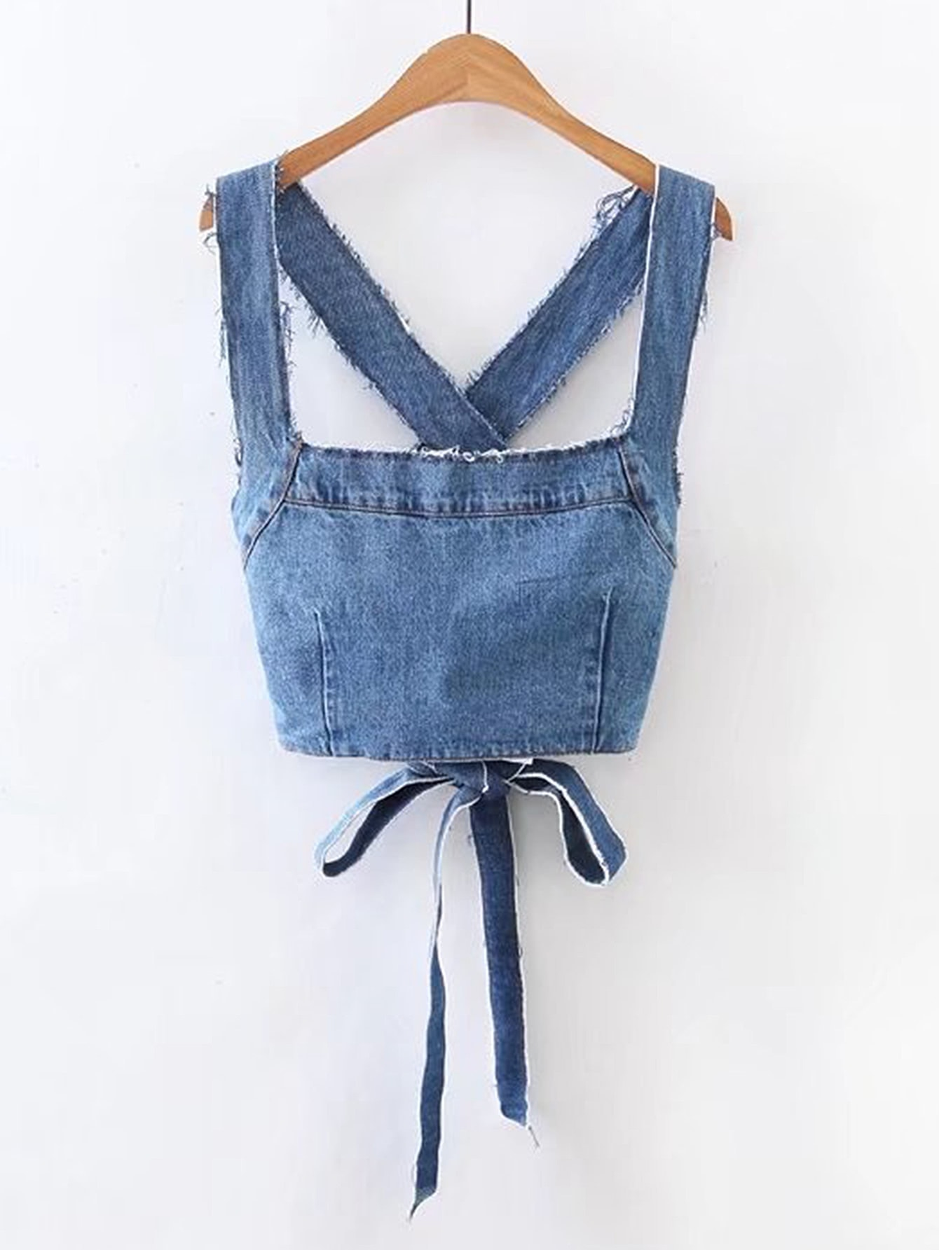 Image of Frayed Detail Criss Cross Back Denim Top