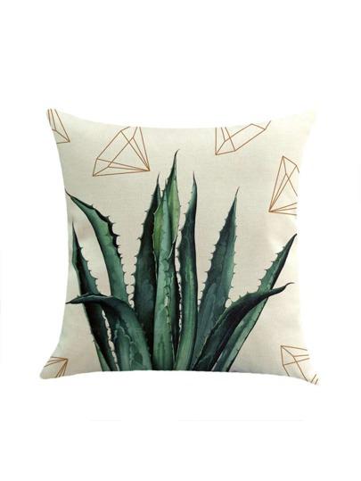Cactus And Diamond Print Pillowcase Cover