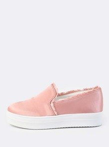 Satin Flatform Slip On Sneakers BLUSH