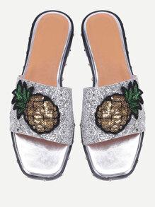 Pineapple Patch Glitter Slider Sandals