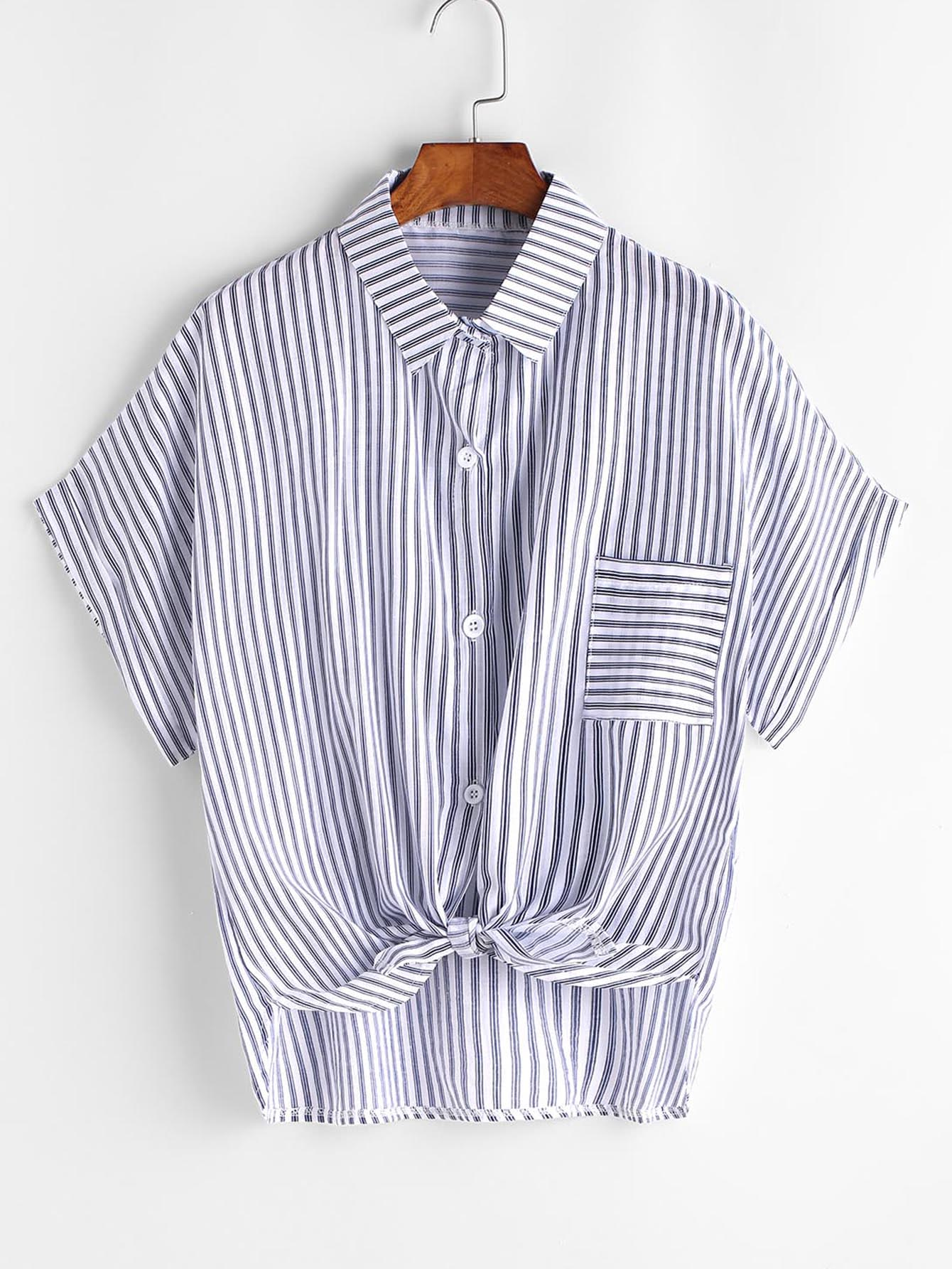 Striped Knotted Front Shirt With Pocket RBLO170327002