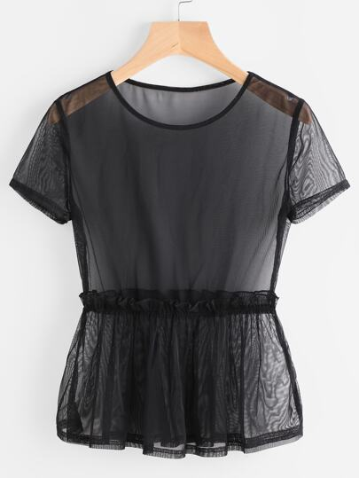 Frill Trim Mesh Peplum Top