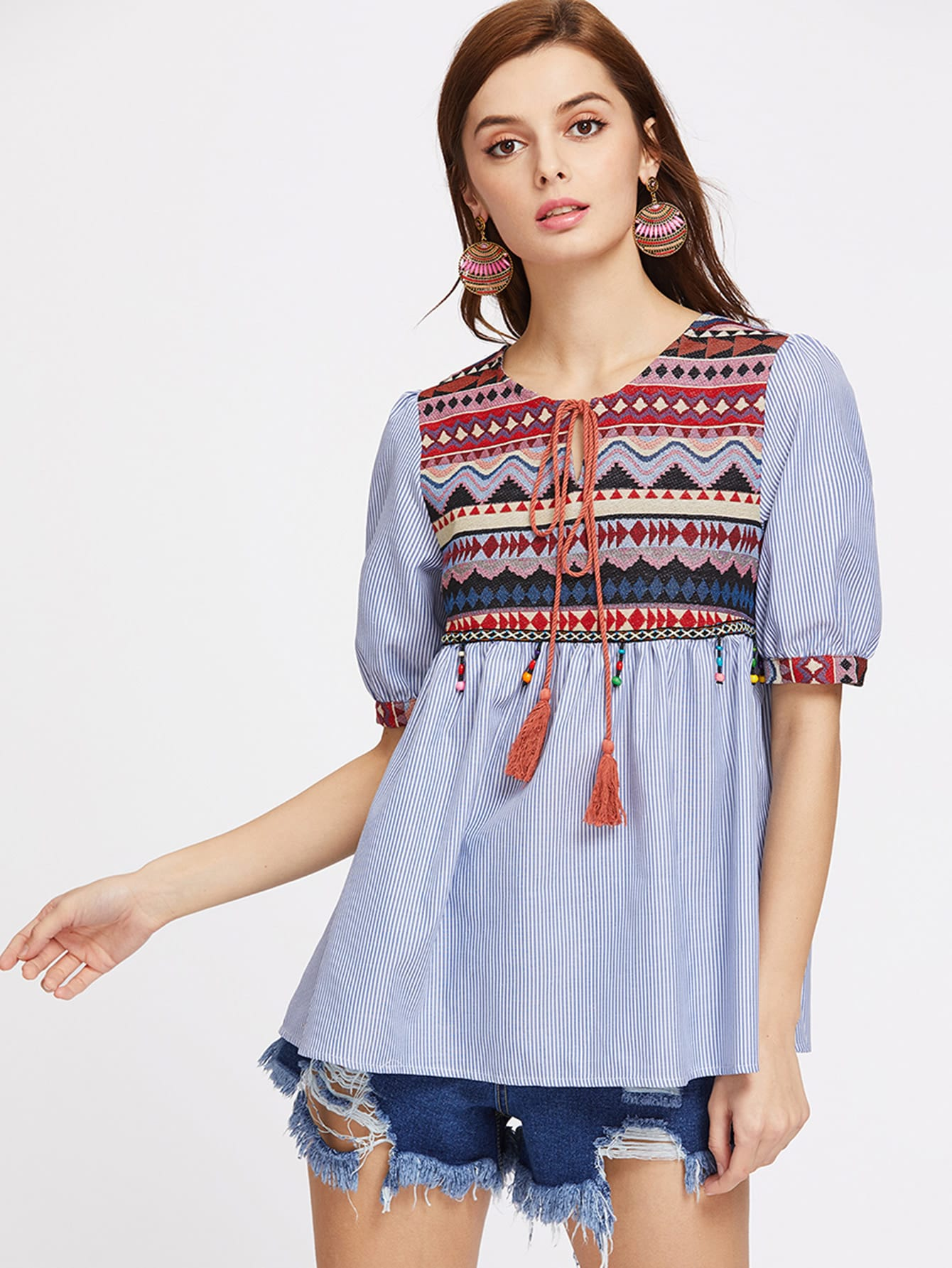 Jacquard Yoke Tasseled Tie Beaded Fringe Trim Babydoll Top blouse170405703