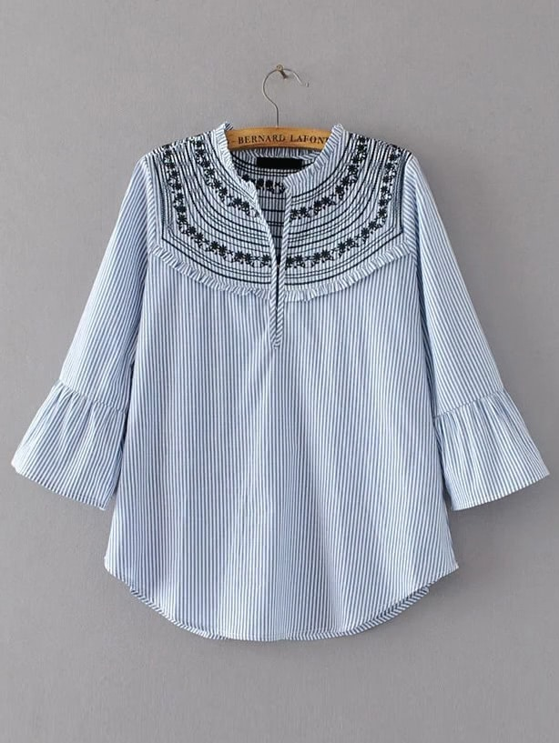 Фото Flute Sleeve Vertical Stripe Embroidered Blouse. Купить с доставкой