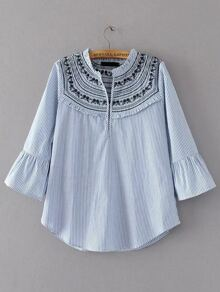 Vertical Striped Embroidery Bell Sleeve Blouse
