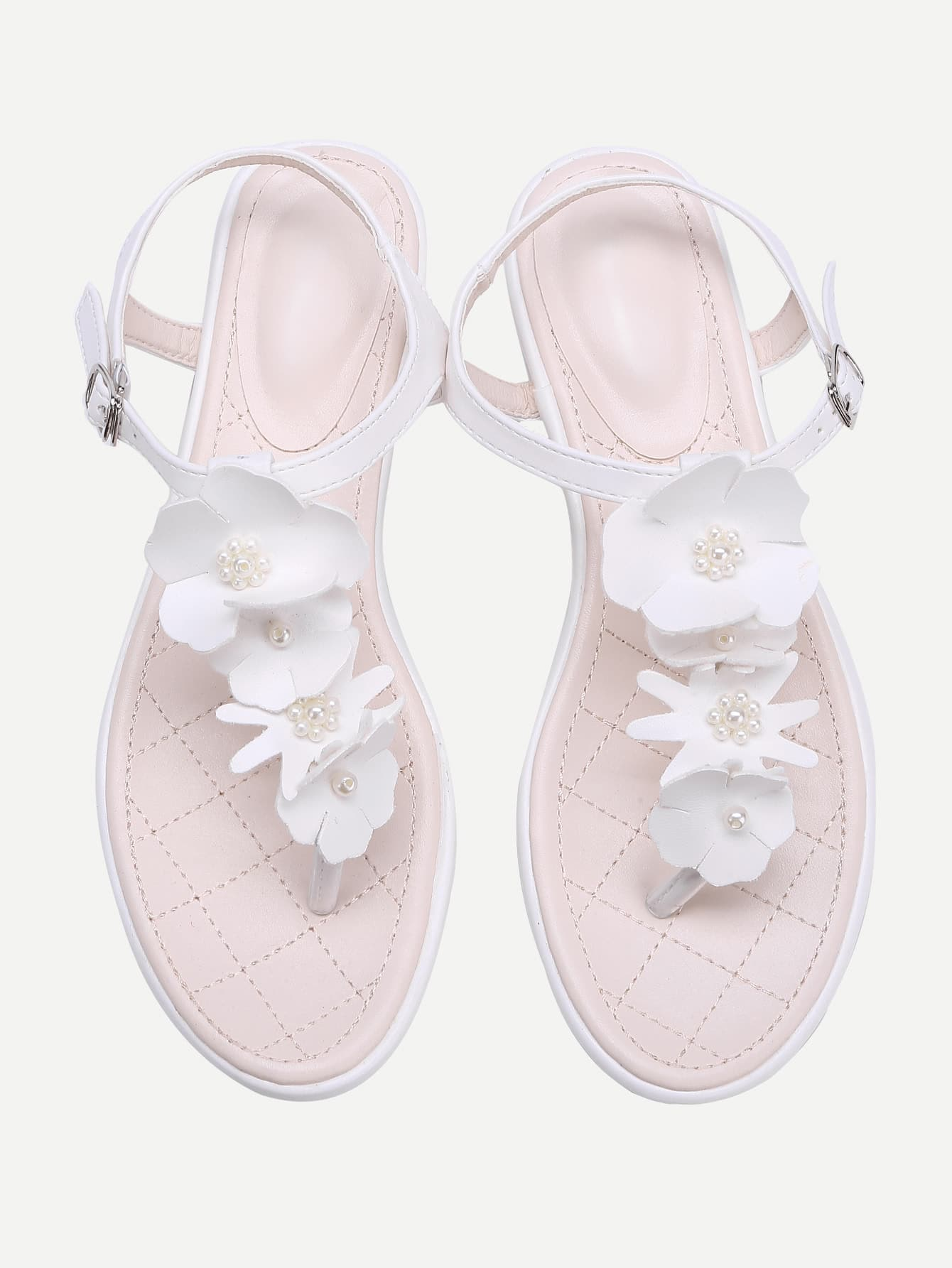 Фото Flower And Faux Pearl PU Toe Post Sandals. Купить с доставкой