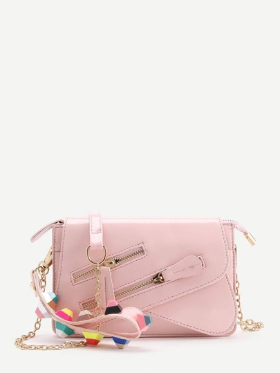 Studded Detail Double Zipper Chain Crossbody Bag