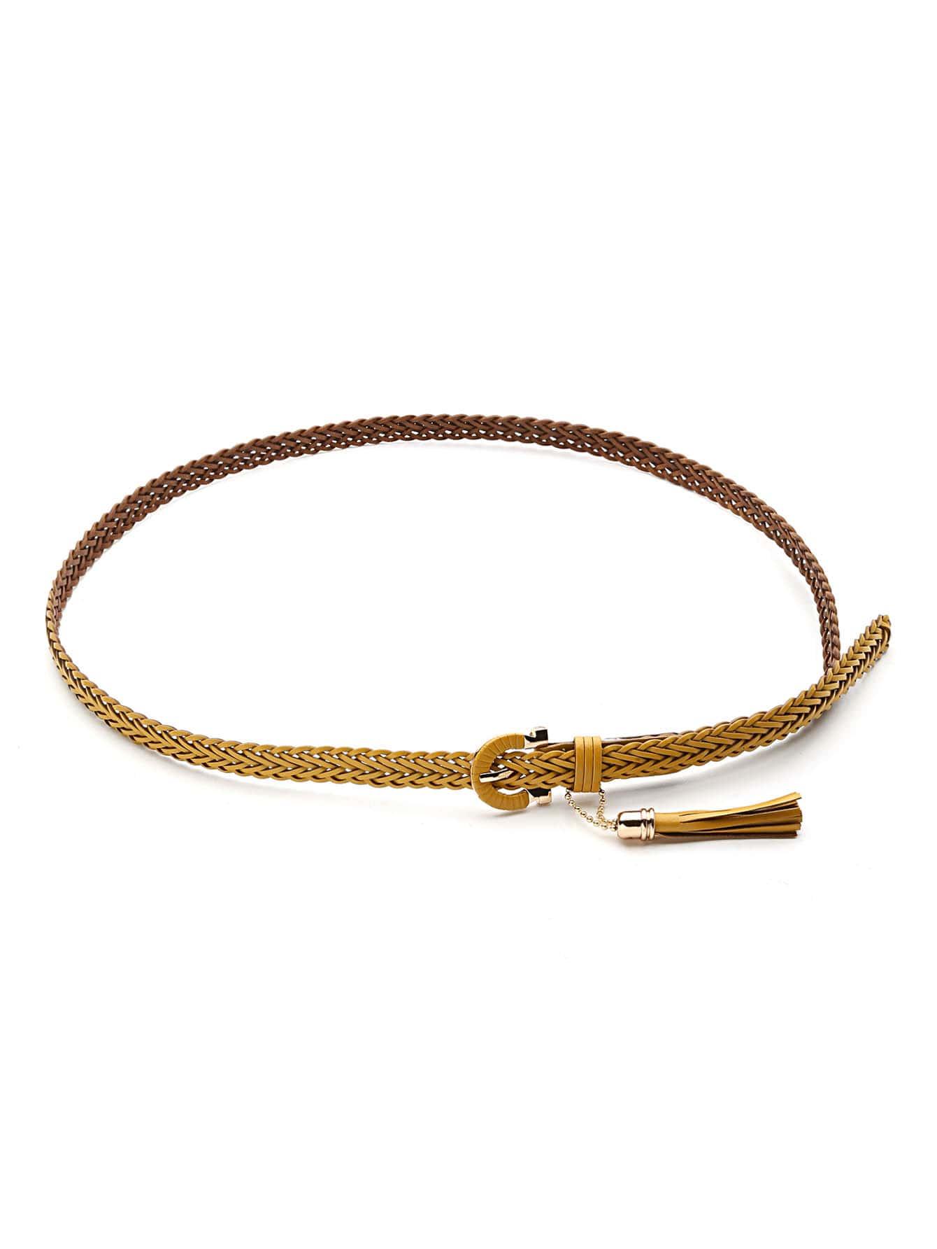 Woven Skinny Belt With Tassel