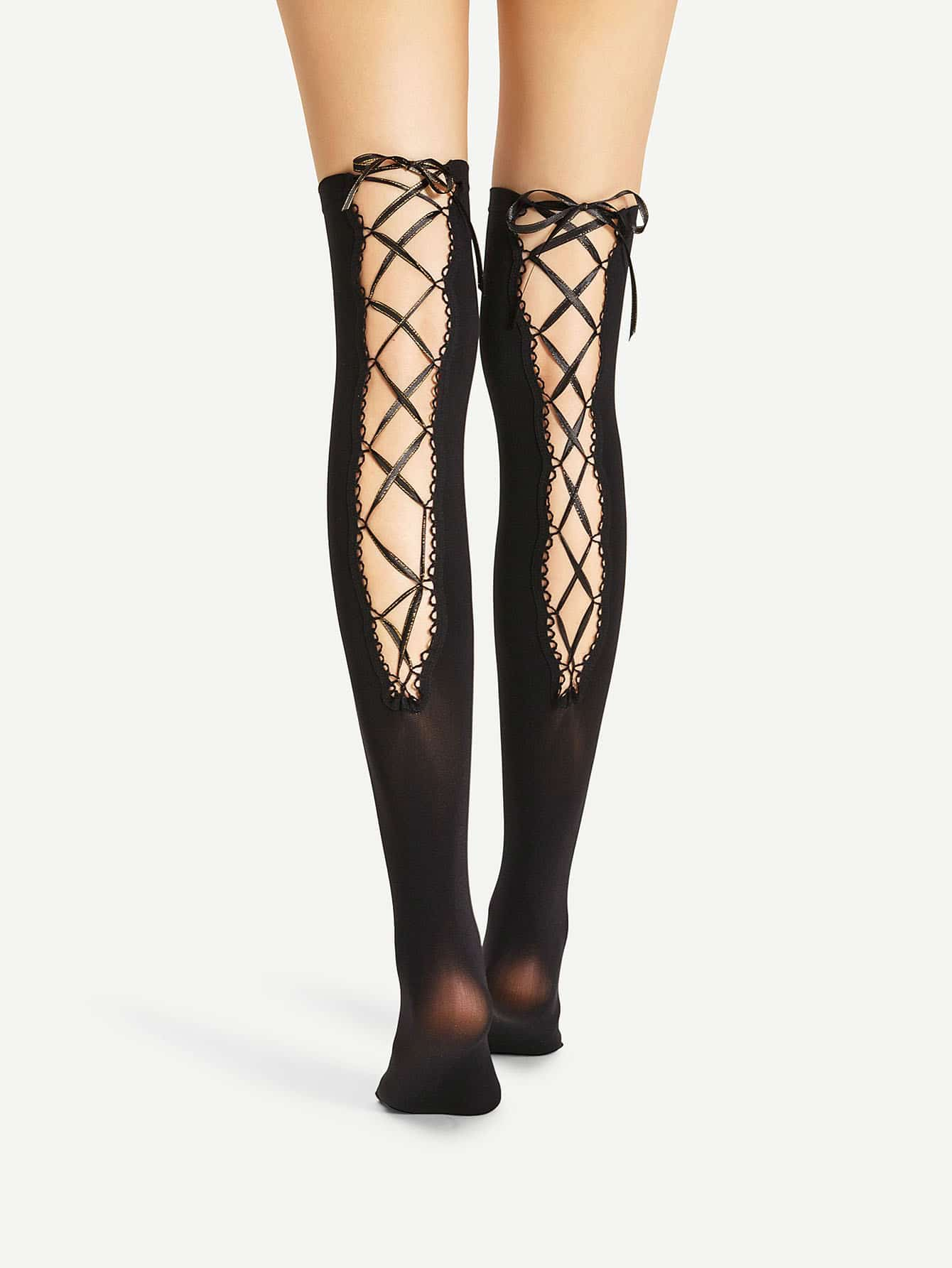 Lace Up Over The Knee Socks lace trim over the knee fishnet socks