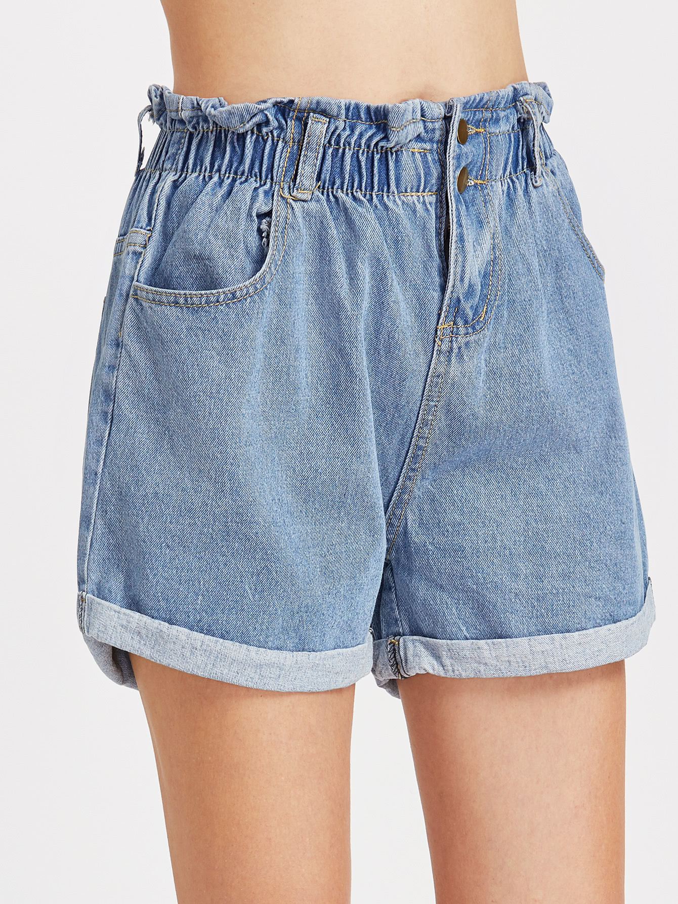 Shirred Elastic Waist Rolled Hem Denim Shorts