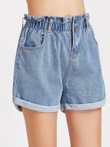 Blu elastico in vita arricciato Rolled Hem Denim Shorts