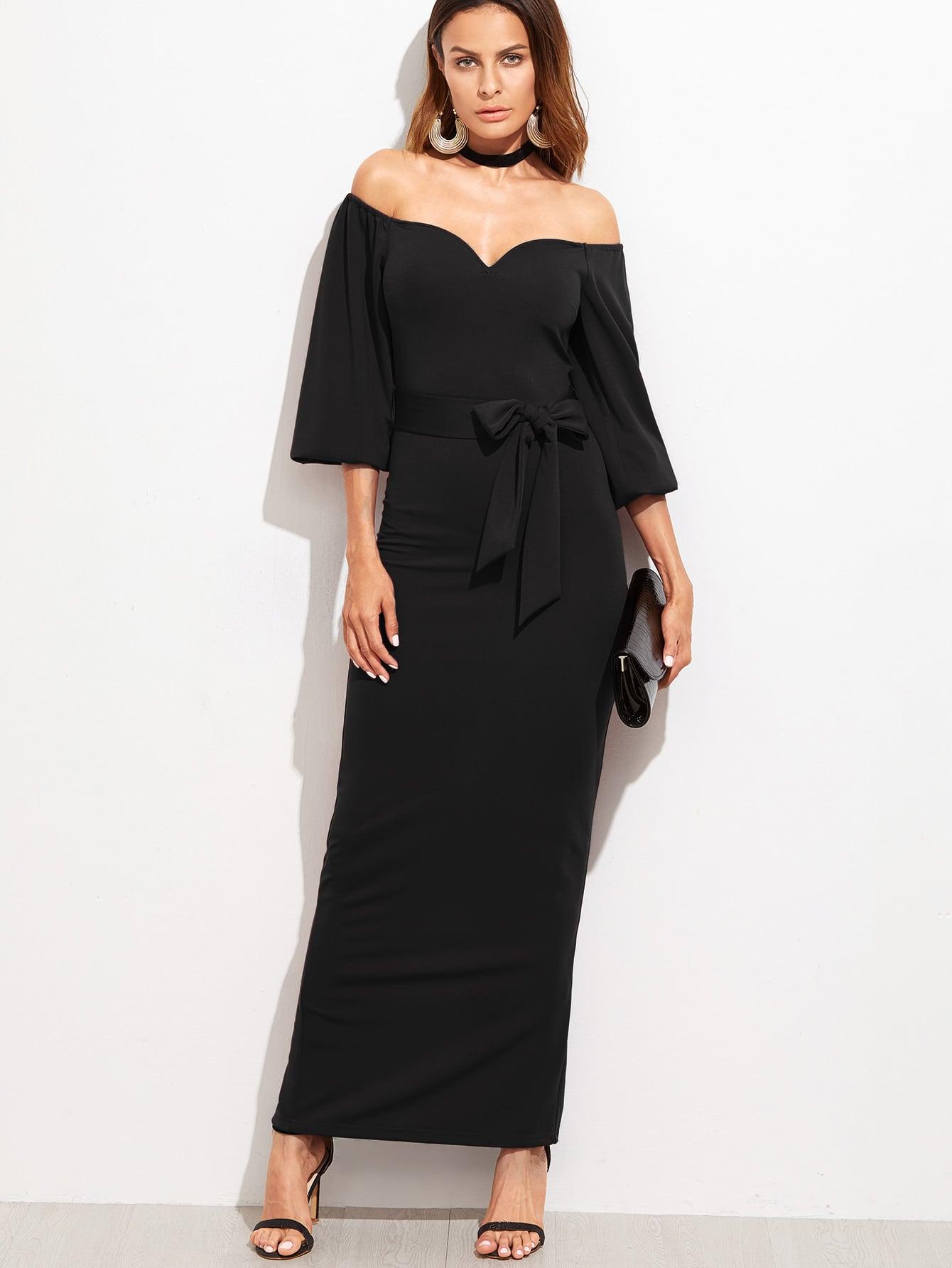 Фото Sweetheart Off The Shoulder Belted Dress. Купить с доставкой