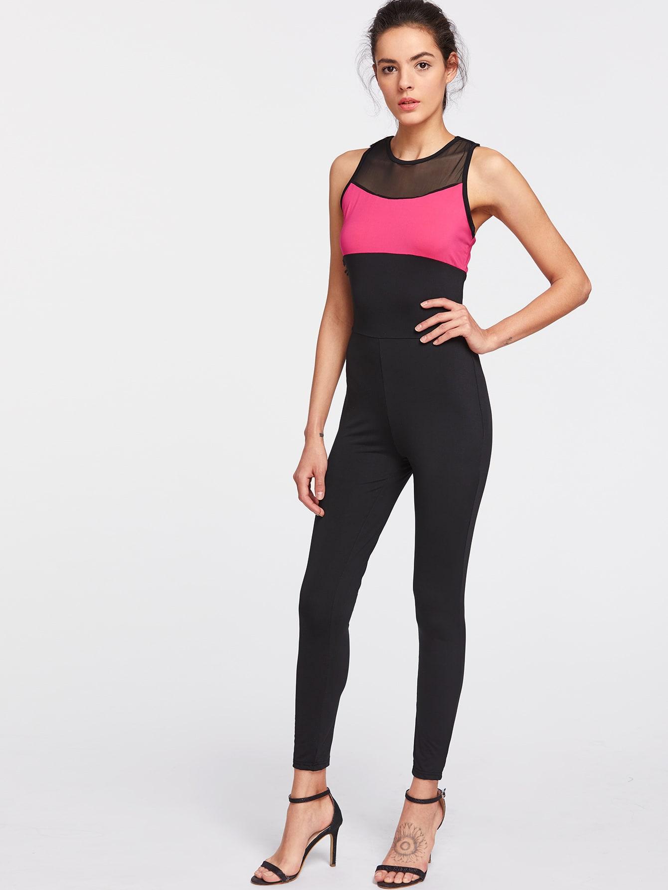 Color Block Contrast Mesh Crisscross Back Jumpsuit jumpsuit170412103