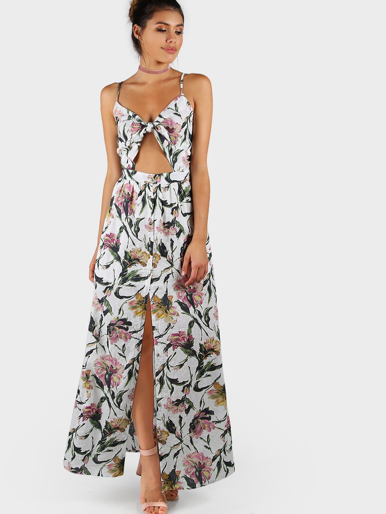 Фото Knot Front Open Midriff Smocked Back Cami Dress. Купить с доставкой