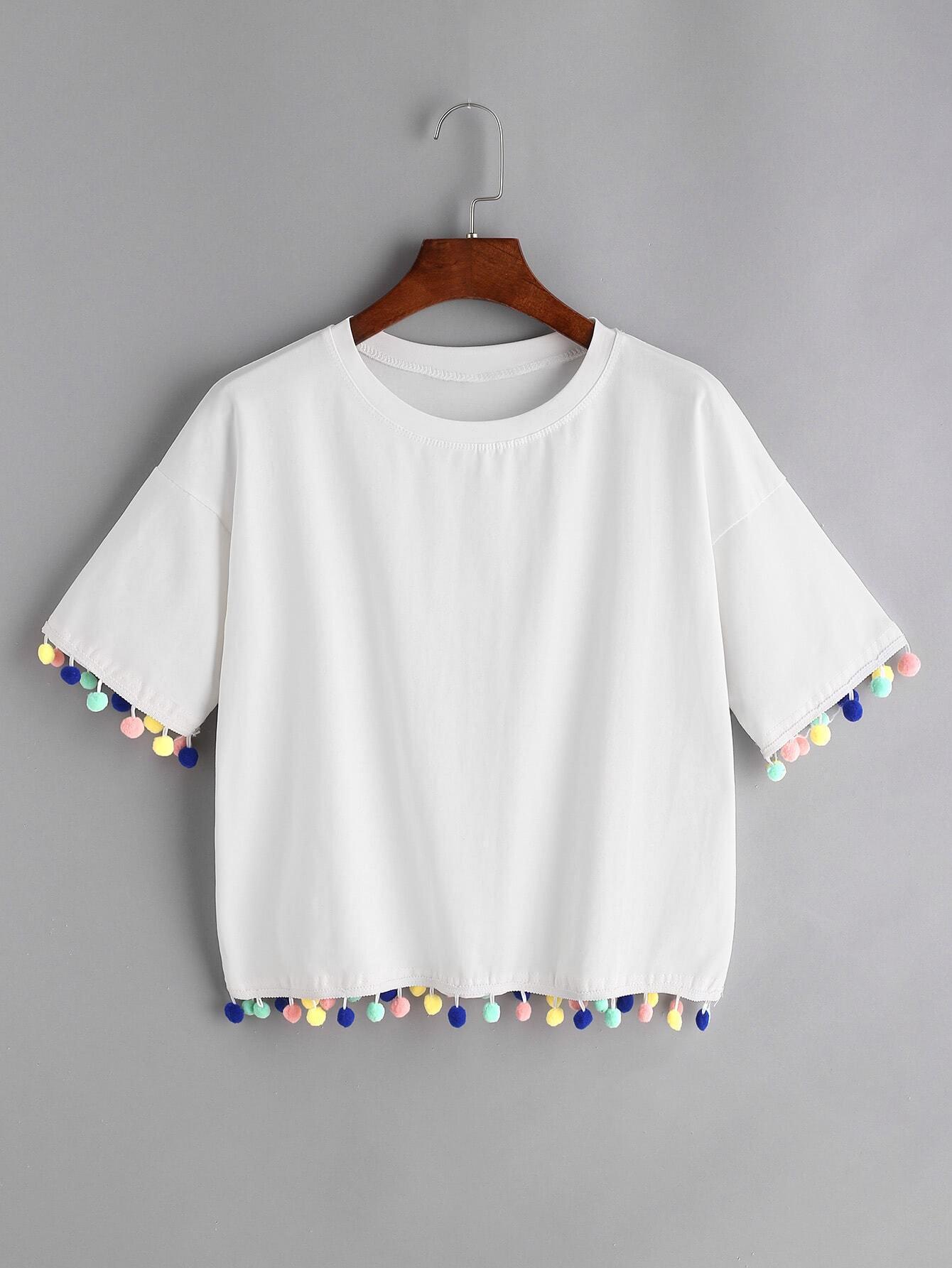 Купить Белая капля плеча Pom Pom футболка, null, SheIn