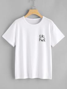 T-shirt con stampa di lettera