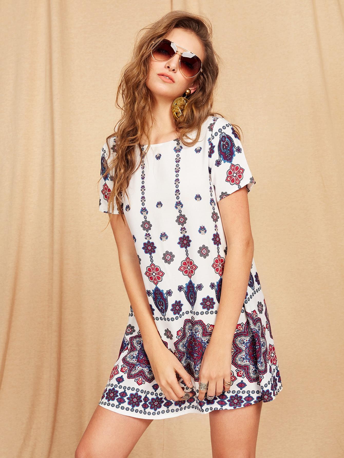 Mandala Print Short Sleeve Dress thumbnail