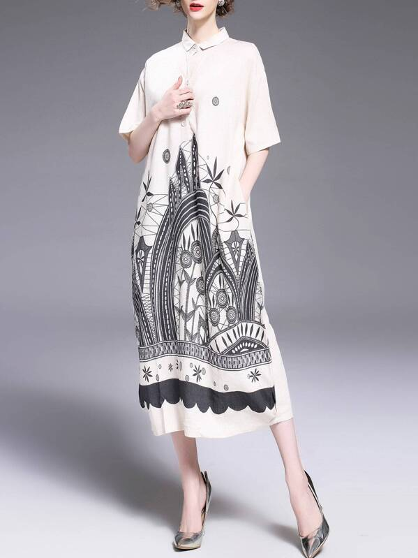 Vintage Print Pockets Long Dress, null