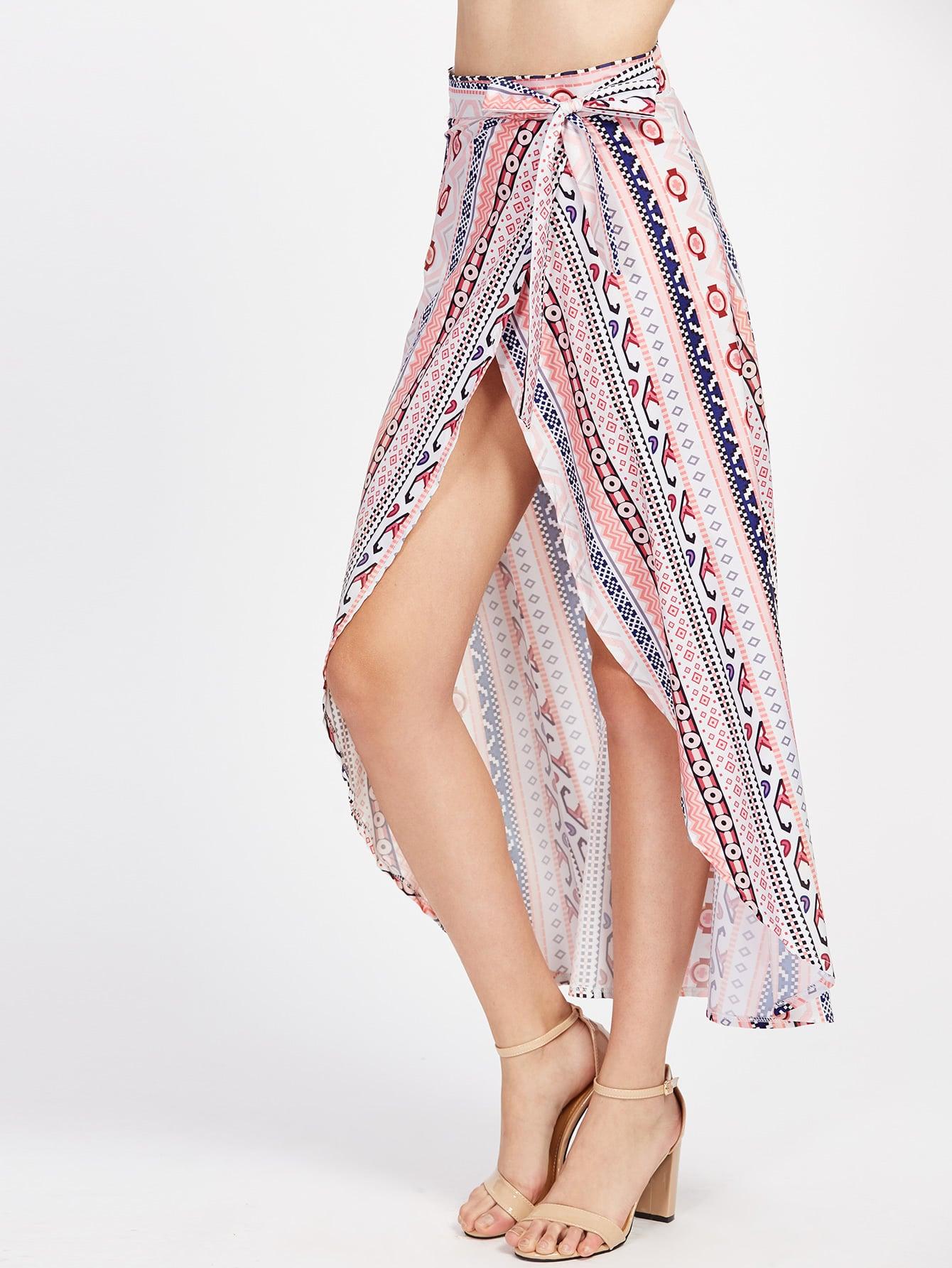 Фото Tribal Print Wrap Tie Side Maxi Skirt. Купить с доставкой