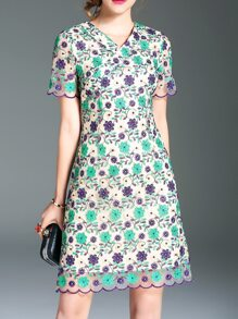 Multicolor V Neck Gauze Embroidered Dress