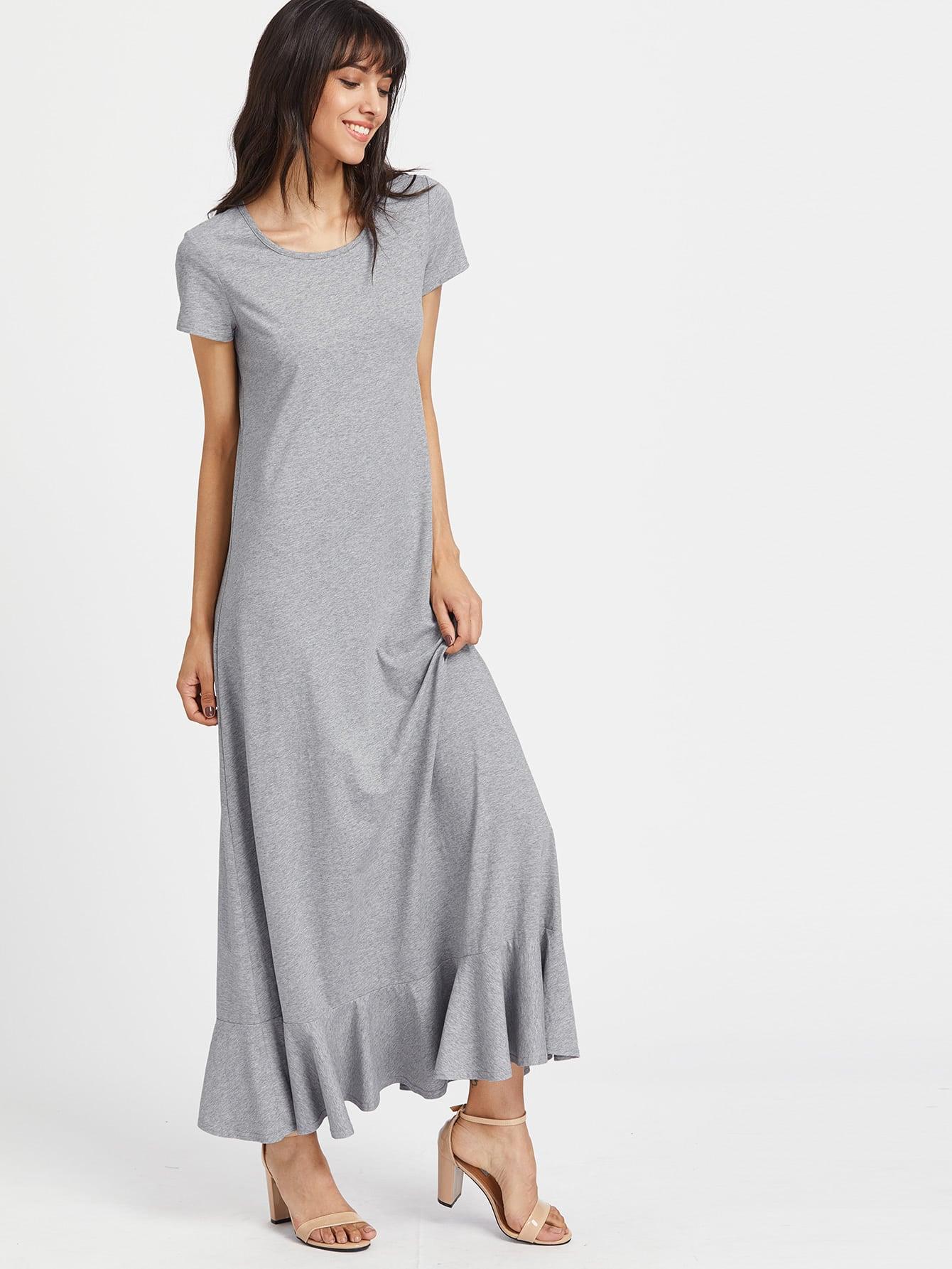Фото Ruffle Trim Heathered Maxi Tee Dress. Купить с доставкой
