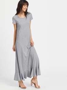 Ruffle Trim Heathered Maxi Tee Dress