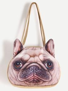 Bulldog Print Shoulder Bag