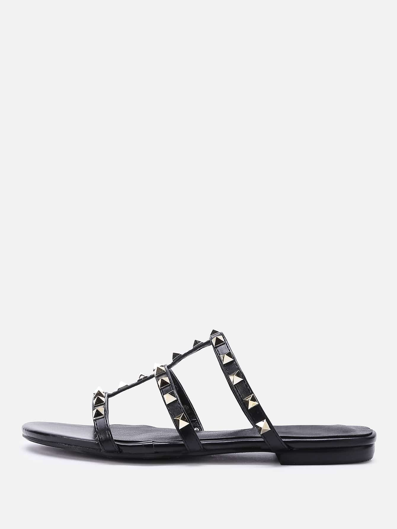 Фото Open Toe Studded Detail Strappy Slippers. Купить с доставкой