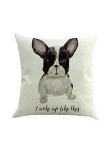 Funda de almohada con estampado de perro y letras