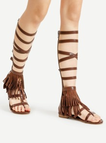 Buckle Strap Gladiator Sandals With Fringe