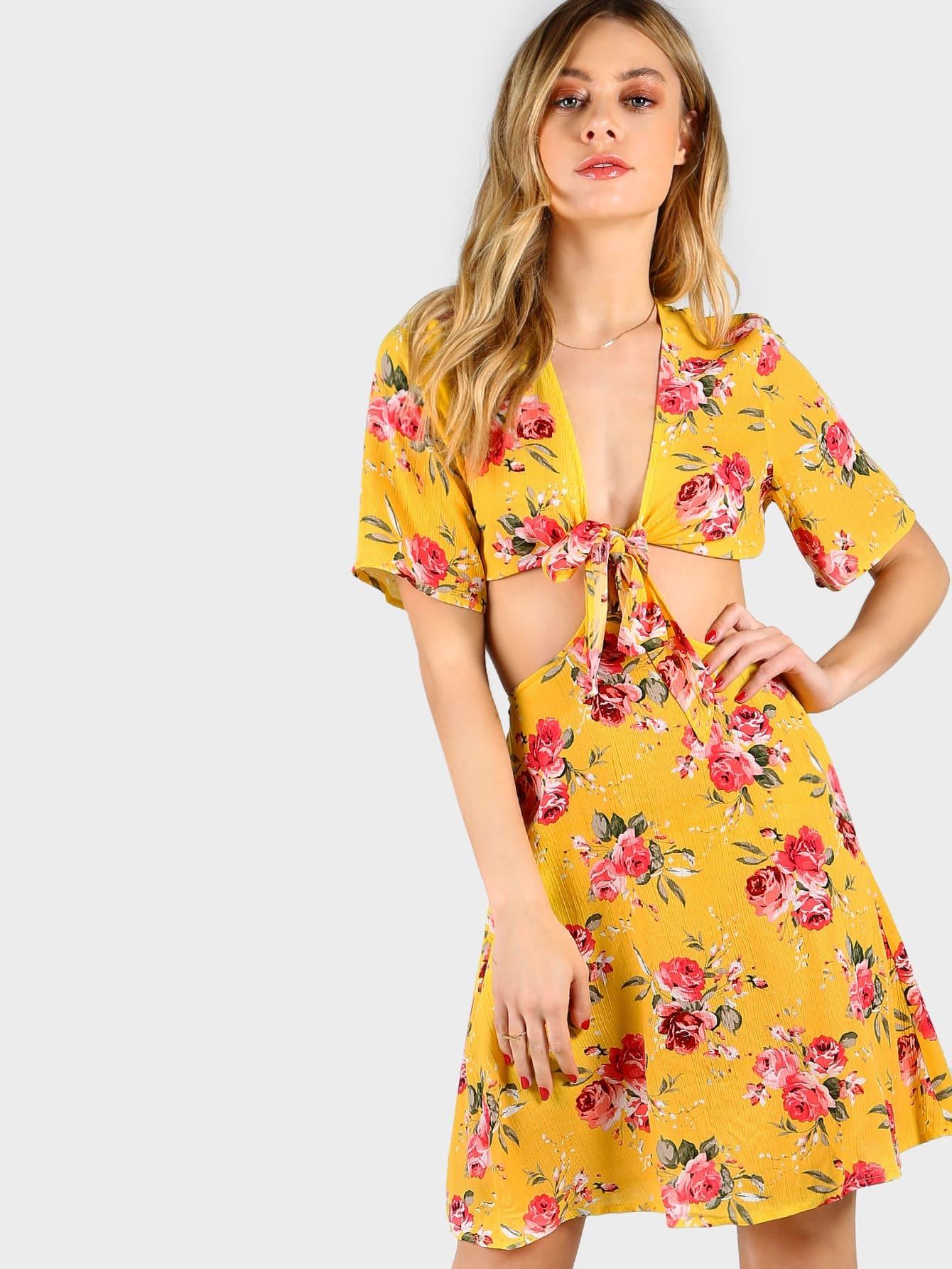 Фото Floral Print Cutout Knot Front Dress. Купить с доставкой