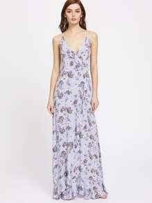 Surplice Lace Up Back Frilled Botanical Cami Dress