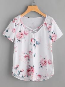 Floral Print Crisscross Front Tee
