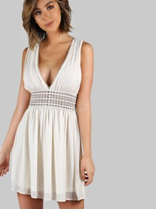 Lace Waistband Double Plunging Dress