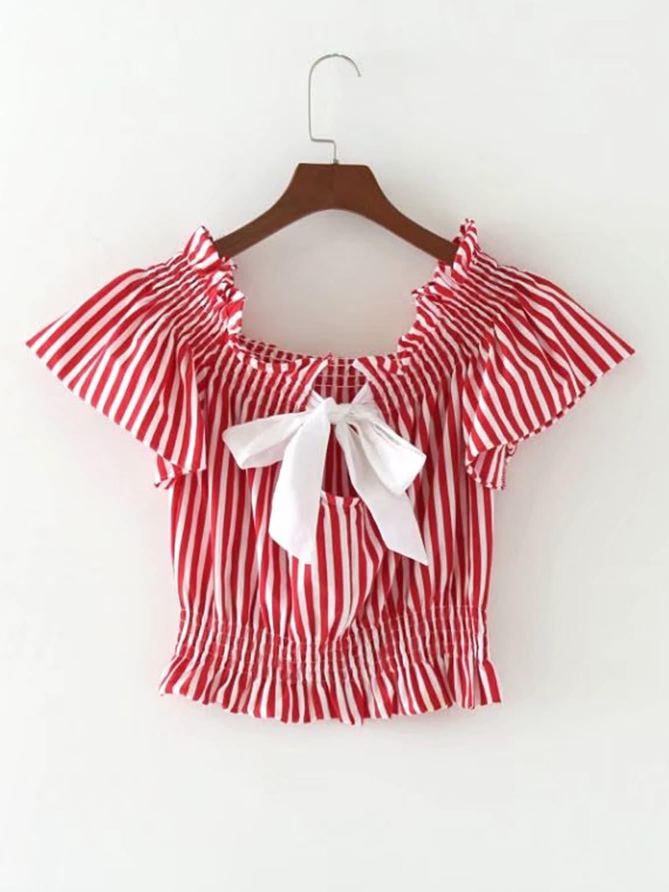 Фото Vertical Striped Bow Tie Back Crop Top. Купить с доставкой