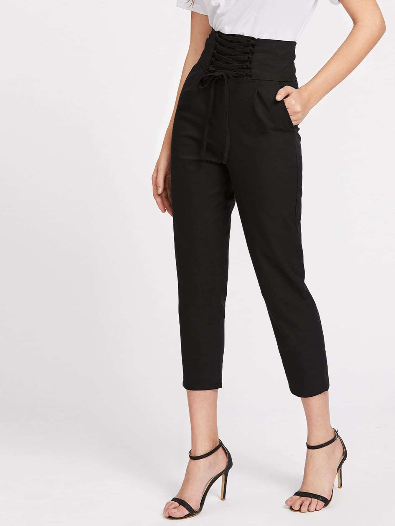 Фото Lace Up Empire Cropped Pants. Купить с доставкой