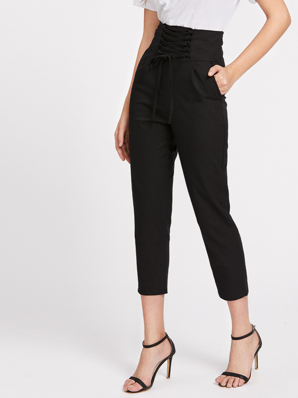 Lace Up Empire Cropped Pants, Luiza