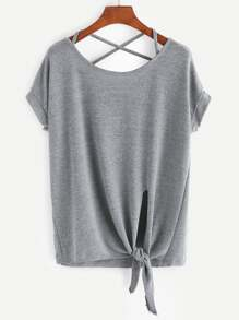 Criss Cross Back Knotted Hem T-shirt