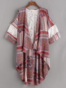 Kimono curvo contraste de encaje con estampado de calicó