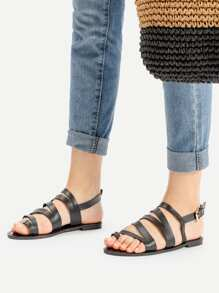 Toe Post PU Strappy Flat Sandals