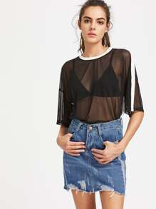 Drop Shoulder Striped Sleeve Mesh Top